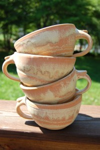 This set of four cozy cappuccino cups is a great example of what Page Pottery does, Kristen says.