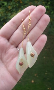 Who doesn't love a calla lily? These earrings are made with new jade and natural pearls. They're just longer than 3 inches, and I love them!